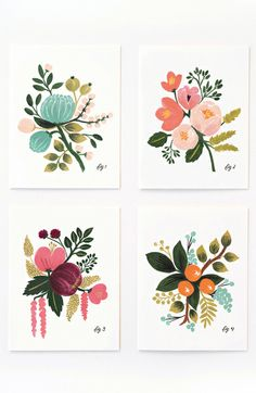 Beautiful botanical illustrated cards | via Fab