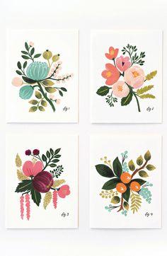 Beautiful botanical illustrated cards | via Fab