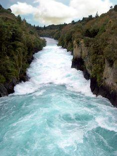 Huka Falls, New Zealand  Damn, that's gorgeous!