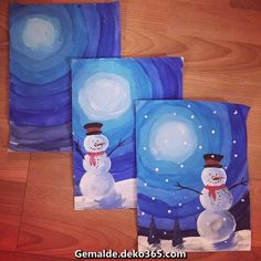 Schneemann mit Aquarellfarbe im Boden - - Bildungsniveau - Education interests Winter Art Projects, Projects For Kids, School Projects, Old School Art, Arte Elemental, Snowmen Pictures, Snowflake Template, Winter Pictures, Learn To Paint