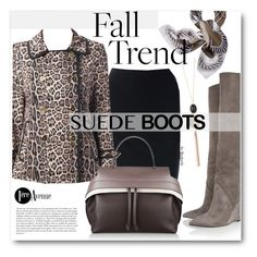 """Style Staple: Suede Boots"" by beebeely-look ❤ liked on Polyvore featuring Yves Saint Laurent, Swarovski, Joseph Ribkoff, Tod's, Cullen, Tory Burch, classy, StreetChic, suedeboots and premiereavenue"