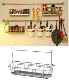 Ikea Bygel wall baskets in kitchen