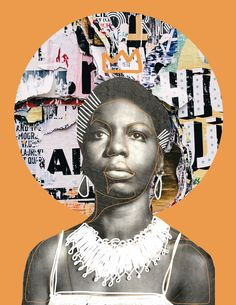 Original Mixed Media Portrait of Nina Simone with minimalist abstract line artwork and a vintage image on saffron yellow. 5 x 7 inch art print by Nida the Artist Digital Collage, Collage Art, Arte Hip Hop, Black Girl Aesthetic, Photocollage, Afro Art, Black Artists, Art Inspo, Cover Art