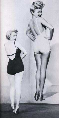 vintage by Katka - Betty Grable (original pinup girl) Marilyn Monroe replicating Betty's pose.