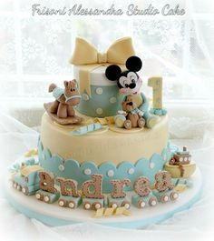 Amazing Birthday Cake-Baby Mickey Mouse Theme by Frisoni Alessandra Studio Cake Bolo Mickey, Mickey And Minnie Cake, Mickey Cakes, Baby Birthday Cakes, Baby Boy Cakes, Safari Baby Shower Cake, Baby Shower Cakes, Mickey Mouse Torte, Friends Cake
