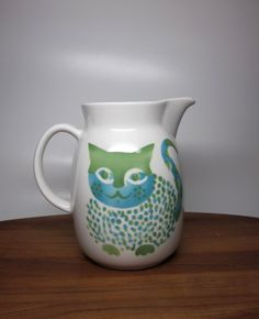 Large Kissa ceramic cat pitcher the pitcher was designed by Kaj Franck and the cat stencil was designed by Gunvor Olin-Grönqvist Made in Finland by