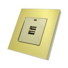 Gold Brushed Aluminium USB Socket