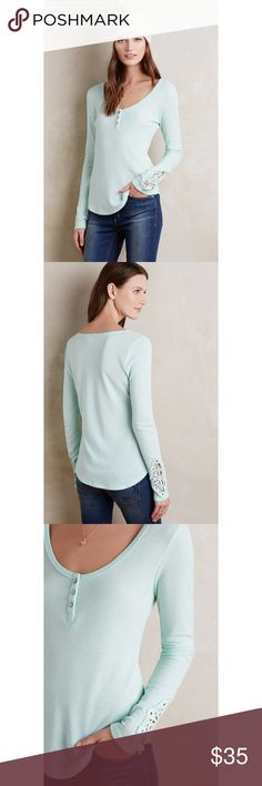 """Anthropologie Scooped Henley By Eloise in a pretty sea foam green color. Soft and lightweight henley that is great for layering. Great fit and detail, I bought this in every color but sadly this one just doesn't work with my skin tone. Bust is 17"""", 23.5"""" in length, sleeves are 26.25"""" long measured from top of shoulder.                                                            Will add real life pictures soon :) Anthropologie Tops Tees - Long Sleeve"""