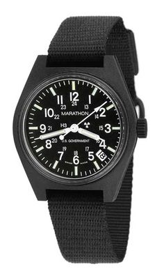 Marathon U.S. Military Issue Quartz Watch with Date and black nylon strap. $161.30