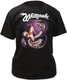 This Whitesnake tshirt displays the front album cover artwork from Lovehunter which was released in 1978 and is the second studio album by the classic rock band. The artwork seen on the front cover of Lovehunter was drawn by fantasy artist, Chris Achiellos and was the last album cover he created for 24 years. Our Whitesnake Lovehunter men's shirt is made from 100% black regular fitting cotton and spotlights the artwork,from the front cover of the album. #RockerRags #Whitesnake