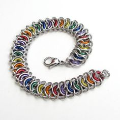 Rainbow chainmail bracelet, Vertebrae weave by TattooedAndChained, $30.00