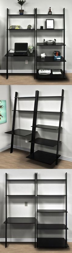 Amazon.com: Leaning Shelf Bookcase with Computer Desk Office Furniture Home Desk Solid Wood: Home & Kitchen