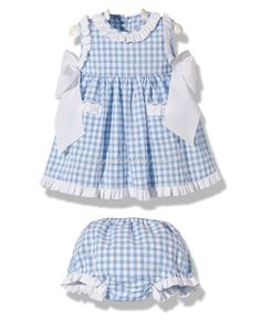 Vestido con braguita cuadros vichy azul