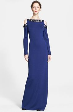 St. John Collection Hand Beaded Milano Knit Cold Shoulder Gown available at #Nordstrom