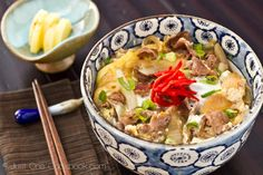 Gyudon (Beef Bowl) Recipe. Never seen it done with beaten egg like that, usually we just have onsen tamago on top. The beef for it is hard to find already sliced, I find a very sharp santoku taken to a half-frozen chuck roast works very well.