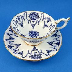Cobalt Blue Swags and Flowers Coalport Tea Cup and Saucer Set | Antiques, Decorative Arts, Ceramics & Porcelain | eBay!