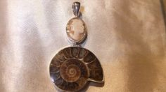 ammonite and carved bone  cameo  necklace  .925  by honeypiezz2, $59.00