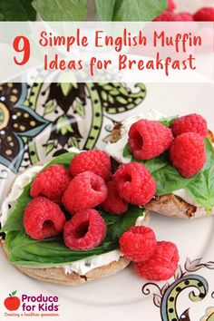 8 Simple English Muffin Ideas for Mother's Day Breakfast - Great ideas that kids can make for mom that require no cooking! Healthy Breakfast Menu, Grab And Go Breakfast, Quick And Easy Breakfast, Breakfast Ideas, Super Healthy Recipes, Healthy Meals For Kids, Kids Meals, Healthy Summer, Healthy Foods