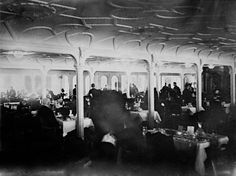 First-class dining room on the Titanic, 1912.