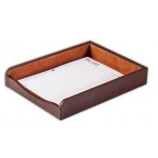 Desk Supplies>Desk Set / Conference Room Set>Holders> Files & Letter holders: Brown Crocodile Embossed Leather 2 Letter Tray