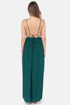 Titania's Woods Backless Dark Teal Maxi Dress | Dark teal, Maxi ...