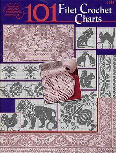 101 Filet Crochet Charts Como punto de cruz.