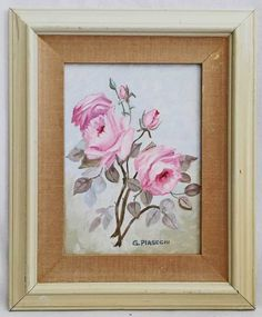 Vintage Original Floral Painting Pink Rose Still Life Shabby Chic Piasecki Pink Painting, Pink Art, Still Life, Shabby Chic, Cottage, English, Rose, Floral, Ebay