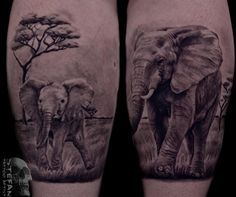 #realistic #blackandwhite #elephants #tattoo #design #tattoo-idea #Dublin #Ireland #studio #parlor #ink