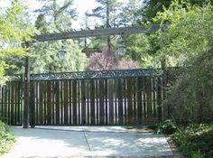 1497 Iron Wood Gates at www.ccoigateandfence.com Driveway Gate, Custom Design, Automatic Gate, Electric Gate, Wrought Iron, Wood