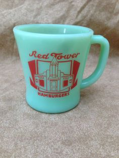 Vintage Red Tower Hamburgers Drive-In Restaurant Fire King Jadite Ad Coffee Mug
