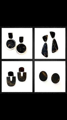 Black Earrings, Statement Earrings, Dangle Earrings, Black And Gold Marble, Metal Clay Jewelry, Precious Metal Clay, Polymer Clay Earrings, Washer Necklace, Etsy Shop