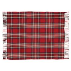 Garrett Woven Throw  ++  Large scale barn red-base plaid with accents of cobalt, camel, army green, and creme. Ring spun for soft hand feel  ++  BUY at DecorateTheSeason.com