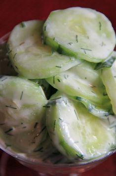 Cucumber Salad: 1 lg cucmber, 2 t sea   salt, 1 T sour cream, 1 t chopped onion, 1 t fresh dill, 1 t vinegar, 1 t sugar,   oh yum yum
