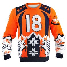 See price KLEW NFL Denver Broncos Peyton Manning Ugly Sweater, X-Large, Blue for Christmas Gifts Idea Shop Online . Regardless of whether you are looking to help remedy on your own this specific Christmas as well as wish several motivatio Denver Broncos Peyton Manning, Broncos Fans, Nfl Fans, Ugly Sweater, Ugly Christmas Sweater, Jumper, Denver Broncos Images, Football Team Logos