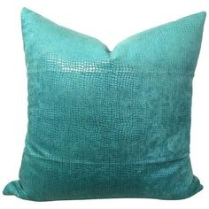 Turquoise Alligator Velvet Pillow ($200) ❤ liked on Polyvore featuring home, home decor, throw pillows, pillows, velvet accent pillows, turquoise toss pillows, velvet throw pillows, turquoise accent pillows and turquoise throw pillows