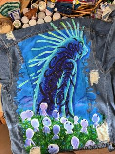 Items similar to Princess Mononoke Hayao Miyazak painted denim jacket (please read the description) on Etsy Custom Denim Jackets, Ghibli, Painted Denim Jacket, Denim Art, Painted Clothes, Sewing Blogs, Anime Outfits, Fabric Painting, Aesthetic Clothes