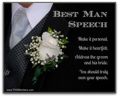 A best man speech should be personal. It should be heartfelt. It should speak to the groom and his bride. You should truly own your best man speech. Groom's Speech, Best Man Speech, Wedding Toast Samples, Girl Drama, Best Man Wedding Speeches, Maid Of Honor Speech, Wedding Toasts, Wedding Pins, Wedding Bells