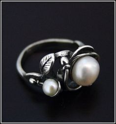 Leaf and Pearl Ring High Quality | eBay