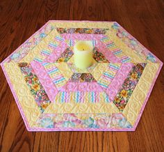 Hexagon Quilted Easter Table Topper or Candle by QuiltSewPieceful