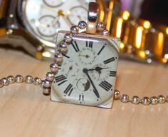 Scrabble Tile Clock Pendant