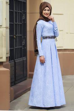 Eda Ertunç Buz Mavisi Açelya Tesettür Elbise