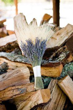 #fallwedding bouquet: #wheat + dried lavender - photo by Cameron Ingalls  - http://ruffledblog.com/galleries/harvest-fall-wedding/