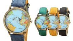 World Map-Print Unisex Watch - 5 Colours Be world's ahead of the fashion game with thisWorld Map-Print Unisex Watch      Choose from black, white, yellow, blue or green straps      Watch face features a vintage-style world map print      Strap made from high-quality artificial leather      Features cute small plane detailing      A great gift for any avid traveller      Scratch-resistant,...