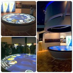 Custom Round Multitouch Table for ZedBuffer in Australia - 12 Guests Can Interact At Once. Commissioned by  Sydney Catchment Authority for the Warragamba Dam visitor exhibition titled 'Water for Life'. The table displays 40 individual stories in four thematic groups – Water, Catchments, Dam, and People. #exhibitdesign #multitouchtables #interactive #gesturecontrol