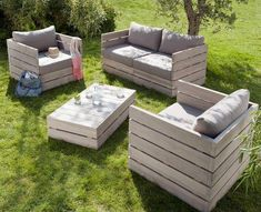 Awesome patio/lawn furniture made from repurposed palettes! For cushions use a shower curtain as the material for water proofing