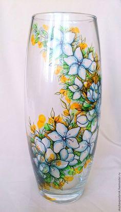 """Купить ваза """"Цветение"""" - ваза, Роспись по стеклу, ваза с цветами, ваза стеклянная, ваза с росписью"""