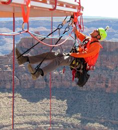 Workers spent two days cleaning the Grand Canyon Skywalk, pictured, which offers amazing views of the Colorado River from a height of feet using a glass walkway. High Rise Window Cleaning, Window Cleaning Tools, Glass Walkway, Colorado River, Window Cleaner, Washers, Ropes, Grand Canyon, Action