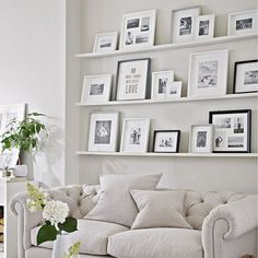 6 Attractive Tips AND Tricks: Floating Shelf Entryway Shoe Racks floating shelves decoration inspiration.Floating Shelves Over Tv Small Spaces black floating shelf bookshelves.How To Decorate Floating Shelves In Living Room. Picture Shelves, Photo Shelf, Ikea Picture Ledge, Gallery Wall Shelves, Picture Rail, Gallery Walls, Decoration Bedroom, Wall Decor, Frames On Wall