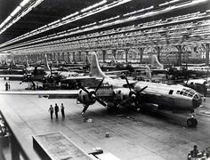 B-29 Superfortress strategic bombers on the Boeing assembly line in Wichita Kansas 1944.