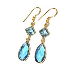 Sitara Collections Topaz Hydro Glass, Topaz Goldplated Earrings